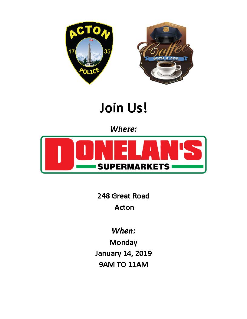 New 2019 January Coffee with a cop flyer Donelans