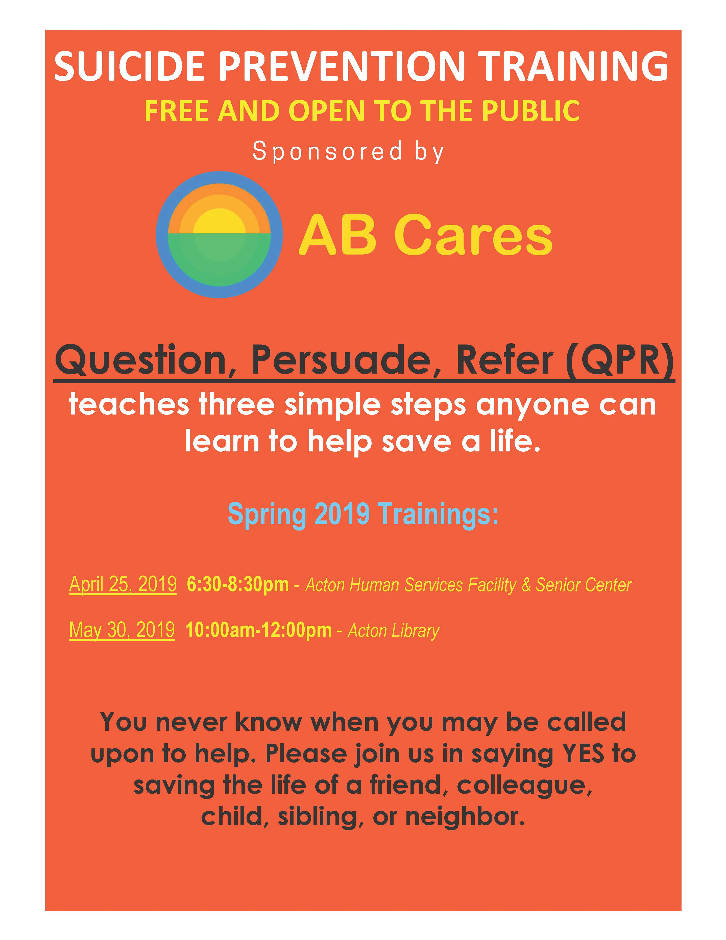 SUICIDE PREVENTION TRAINING FREE AND OPERN TO THE PUBLIC