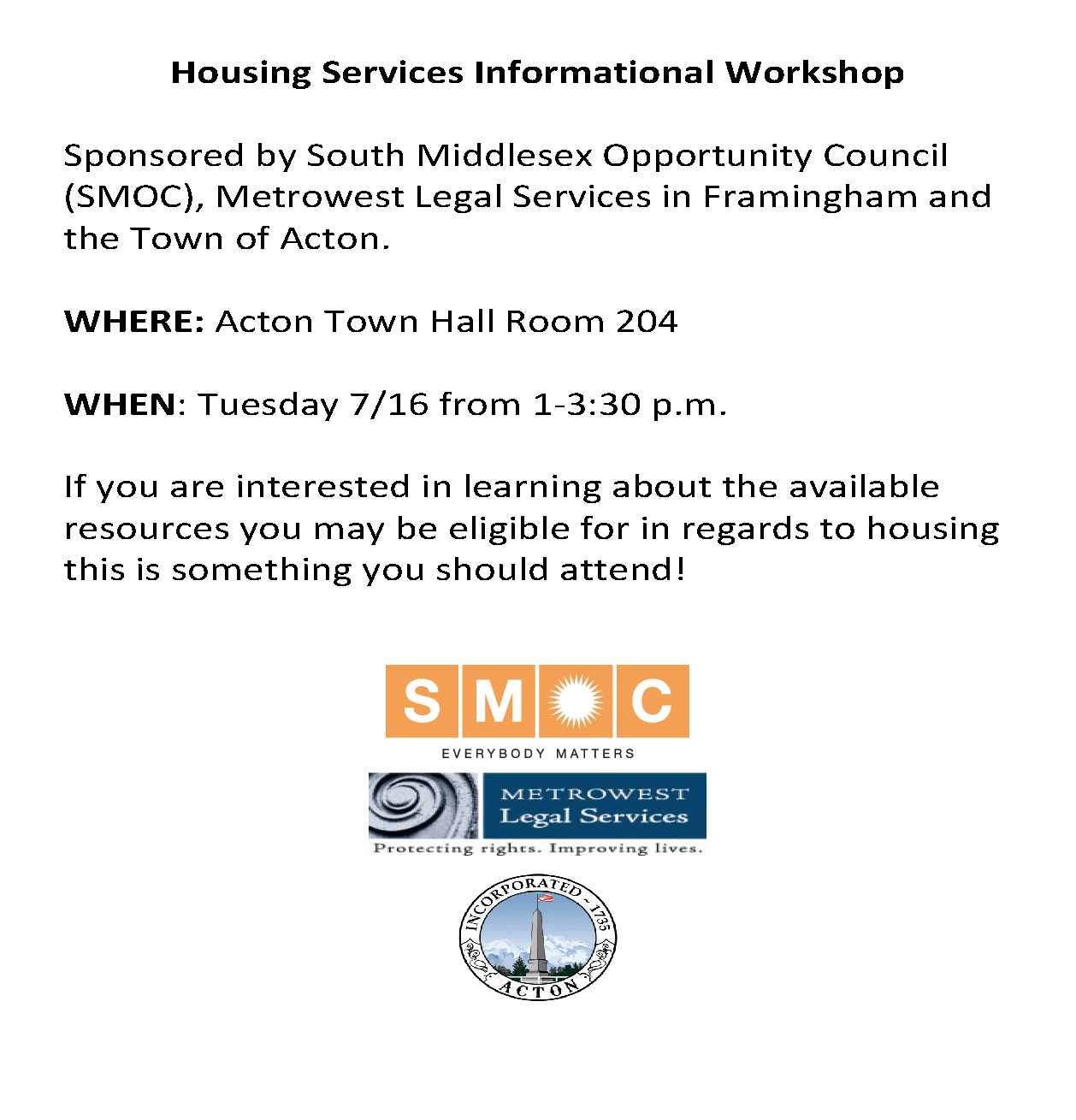 FREE HOUSING WORKSHOP FOR RESIDENTS